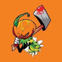Illustration of a pumpkin scarecrow holding axe vector