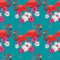 pink flamingo floral seamless design vector