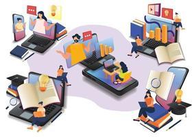 little human learning online class online eaducation online wedsite design vector