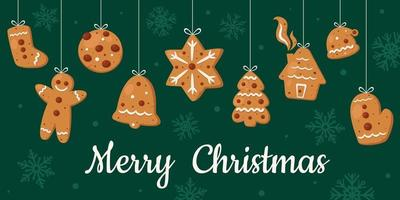 Christmas cookies collection Ginger cookies vector