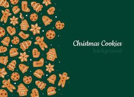 Christmas cookies and gingerbreads background vector