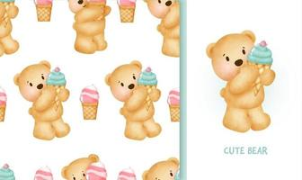 Tarjeta de felicitación de cumpleaños de patrones sin fisuras con lindo oso de peluche sosteniendo un helado vector