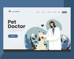 Doctor checking dogs health landing page design vector illustration concept