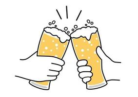 Beer Toast Vector Flat Illustration Isolated On A White Background