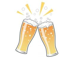 Beer Toast Vector Illustration Isolated On A White Background