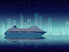 Cruise Liner And Cityscape At Night With Text Space vector