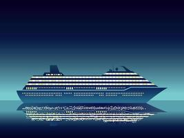 Luxury Cruise Ship In The Middle Of The Ocean At Night With Text Space vector