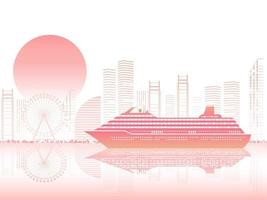 Cruise Liner And Cityscape At Sunset Or At Dawn With Text Space vector