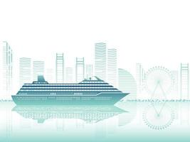 Cruise Liner And Cityscape Silhouette Vector Illustration With Text Space