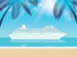 Luxury Cruise Ship And Tropical Beach With Palm Trees vector