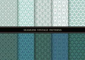 Horizontally And Vertically Repeatable Vector Seamless Damask Vintage  Patterns Set