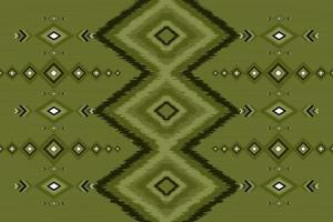 geométrico, étnico, oriental, ikat, seamless, patrón, tradicional, fondo verde, diseño vector
