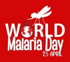World Malaria Day font with mosquito on red background vector