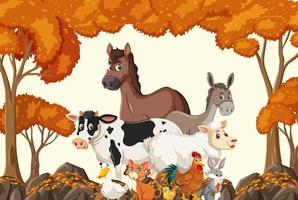 Farm animals group in the autumn forest scene vector