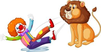 Lion split out the clown isolated on white background vector