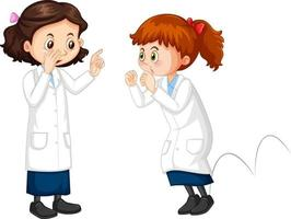 Two scientist girls cartoon character talking each other vector