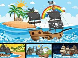 Set of different beach scenes with pirate ship vector