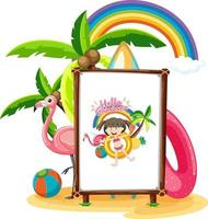 Picture of little girl in the beach scene isolated vector