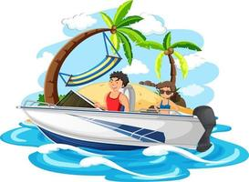 A couple standing on a speed boat on white background vector