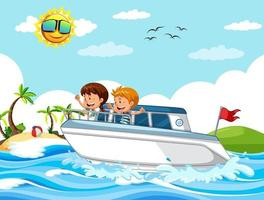 Beach scene with children on a speed boat vector