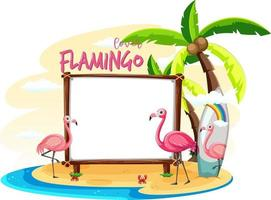 Empty banner board with summer beach elements vector