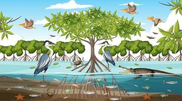 Mangrove forest landscape scene at daytime with many different animals vector