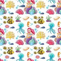 Seamless pattern with mermaid and undersea elements vector