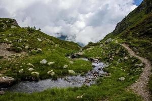 Mountain landscape near Lake Levico in Trento, Italy photo