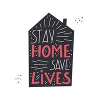 Stay home  hand drawn lettering about quarantine and corona virus Unique vector design elements Covid19 quotes and concepts