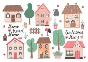 Sweet home colorful illustration with little house and flowers Small houses garden flowers and trees Perfect for scrapbooking poster tag sticker kit  greeting cards party invitations Hand drawn vector illustration