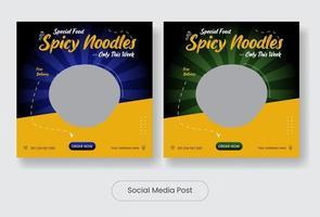 Noodle food social media post template banner set vector