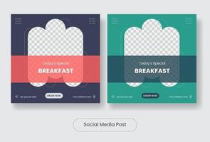 Culinary food square social media post template banner set vector