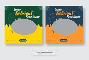 Delicious food social media post template banner set vector