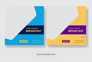 Special breakfast social media post template banner set vector