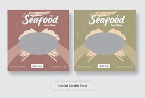 Seafood menu social media post template banner set vector