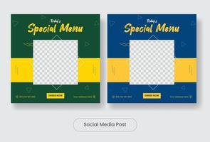 Special menu social media post template banner set vector