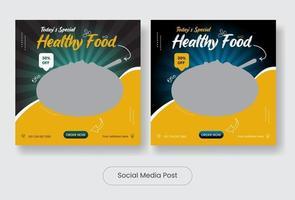 Healthy food social media post template banner set vector