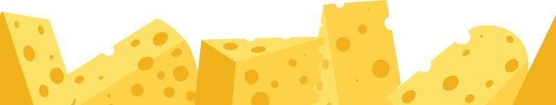Cheese seamless border. Pieces of yellow cheese, isolated on a white background. Pieces of cheese of different shapes. Vector illustration