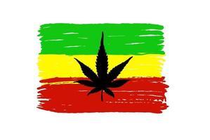 Flag of Rastafarians. Rastafarian flag with cannabis isolated on a white background. Rastafarian symbol vector