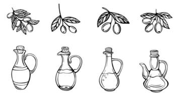 A hand-drawn set of olive branches and olive oil bottles isolated on a white background. Extra-virgin olive oil. Vintage style. Vector illustration in Doodle style