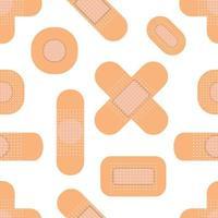 patrón sin fisuras con yesos médicos. patrón de parche médico. ilustración vectorial plana vector