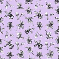 Orchid flowers on a lilac background seamless pattern. vector