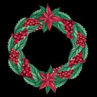 Elegant round Christmas wreath made of cranberry berries, twigs and Poinsettia flowers. Festive watercolor wreath. vector illustration
