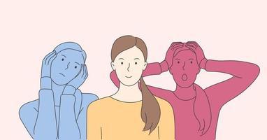 personaje de dibujos animados de mujer joven con trastorno bipolar o trastorno límite de la personalidad vector