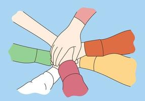 Different people join hands in teamwork vector