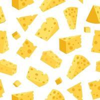 queso de patrones sin fisuras. trozos de queso amarillo, aislado en un fondo blanco. trozos de queso de diversas formas. vector ilustración plana