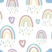 Cute rainbow and hearts seamless pattern. Romantic pattern for Valentines Day.Creative childrens illustration in a fashionable Scandinavian style. Vector illustration