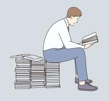 Young man cartoon character sitting on stacks of books with book in hands and reading vector