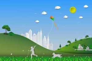 World environment day concept of eco friendly save the earth and nature child playing kite in the meadow with dog vector