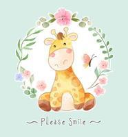 caricatura, jirafa, y, mariposa, en, floral, marco, ilustración vector